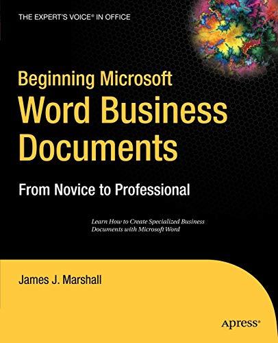 9781590597286: Beginning Microsoft Word Business Documents: From Novice to Professional (Beginning: from Novice to Professional)