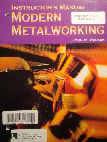 9781590702260: Modern Metalworking, Instructor's Manual