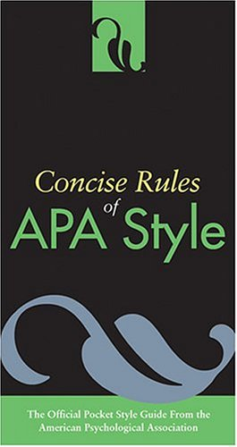 9781591472520: Concise Rules Of APA Style (Concise Rules of the American Psychological Association (APA) Style)