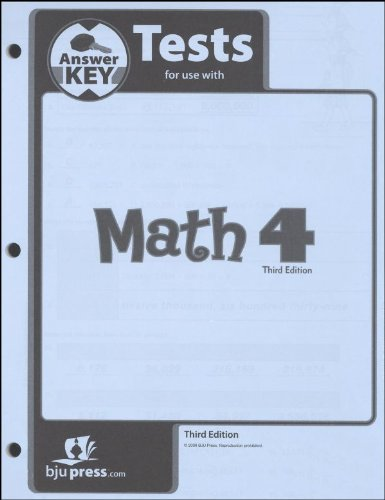 Math Grade 4 Test Pack Answer Key 3rd Edition: 260125