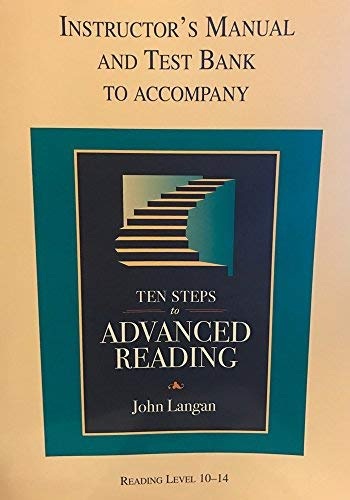 9781591940890: Instructor;'s Manual and Test Bank to Accompany Ten Steps to Advanced Reading- Reading Level 10-14