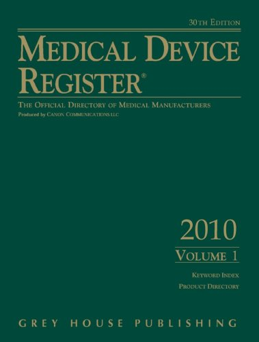 9781592374465: Medical Device Register 2010 2Vol Set (Medical Device Register (United States)) (Medical Device Register, Domestic Edition)