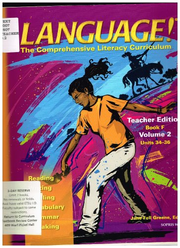 9781593183783: Language! The Comprehensive Literacy Curriculum Teacher Edition (Book F, Volume 2 Units 34-36)