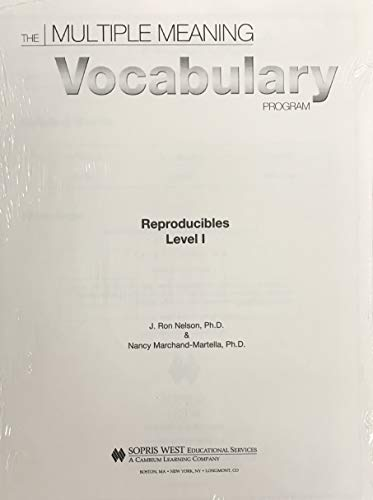 9781593184032: THE Multiple Meaning Vocabulary Program Reproducibles Level I