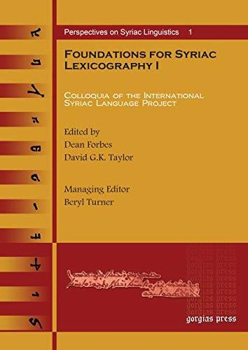 9781593331382: Foundations for Syriac Lexicography (Replica Books)
