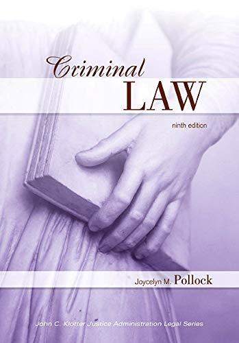 9781593455040: Criminal Law (John C. Klotter Justice Administration Legal)