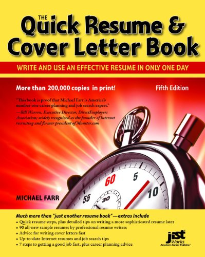 9781593578565: Quick Resume & Cover Letter Book: Write and Use an Effective Resume in Just One Day (Quick Resume and Cover Letter Book)
