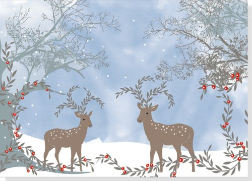 9781593597399: Winter Reindeer Deluxe Holiday Boxed Cards (Christmas Cards, Holiday Cards, Greeting Cards)