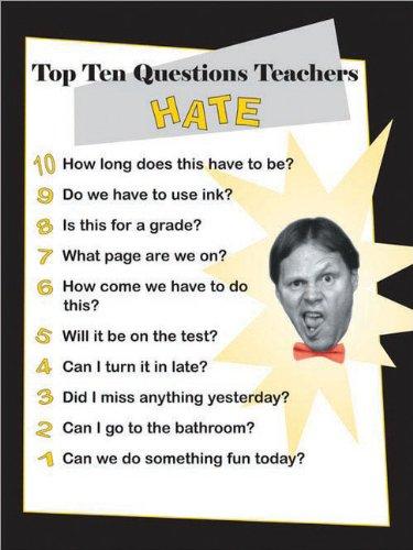 9781593636777: Top Ten Questions Teachers Hate Poster