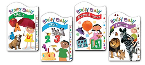 9781593947989: Brainy Baby Board Book Set of 4 ABCs,123s, Animals, Shapes and Colors Classic Tab