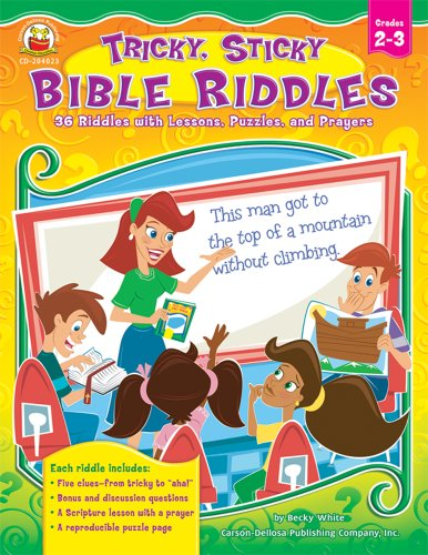 Tricky, Sticky Bible Riddles, Grades 2 - 3: 36 Riddles with Lessons, Puzzles, and Prayers: White, ...