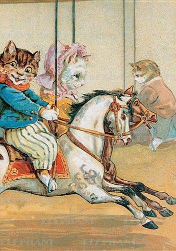 Cats Riding Carousel - Birthday Greeting Card