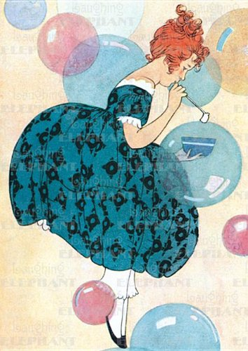 Girl Blowing Bubbles - Birthday Greeting Card
