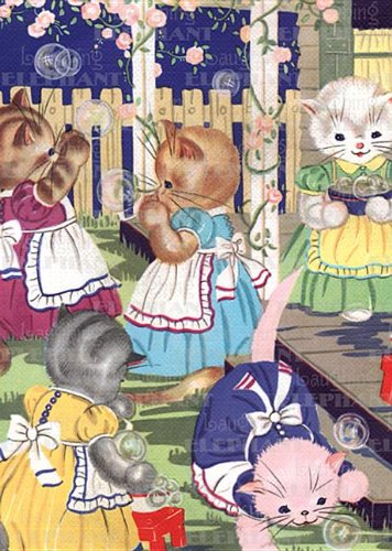 9781595834867: Kittens in Garden - Birthday Greeting Card