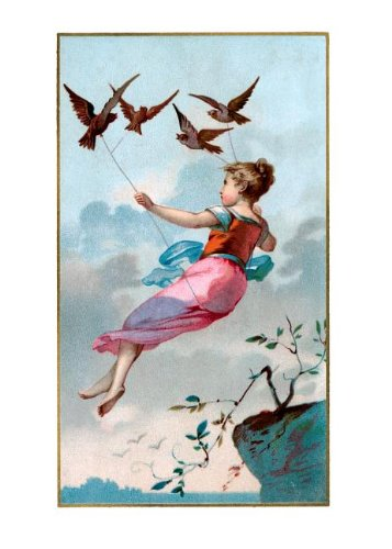 Girl flying held aloft by birds - Encouragement Greeting Card