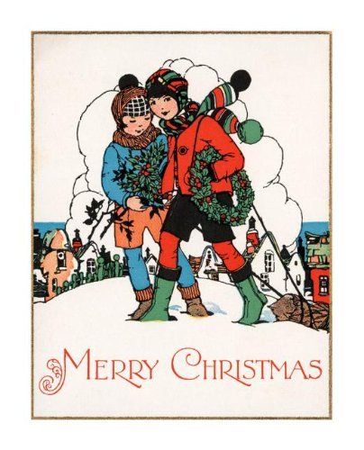 Boys carrying holly wreaths through snow - Christmas Card