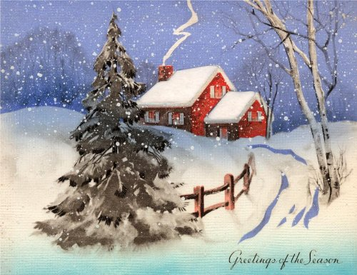 House and trees in deep snow - Christmas Card