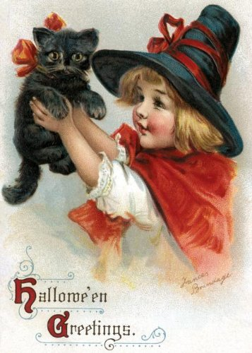 Girl With Black Cat Halloween Greeting Card: Frances Brundage (illustrator)