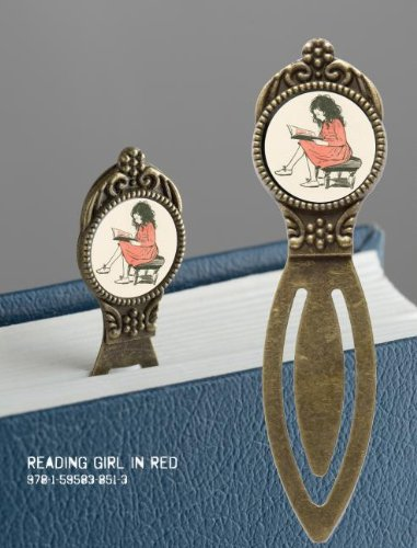 9781595838513: Book Lover's Bookmark - Reading Girl in Red: 4 pack of Brass Bookmarks with Resin Image