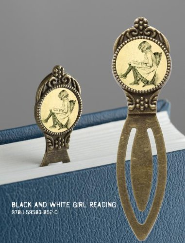 9781595838520: Book Lover's Bookmark - Black and White Girl Reading: 4 pack of Brass Bookmarks with Resin Image