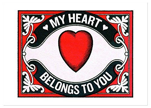 Heart Matchbox Label Anniversary Greeting Card