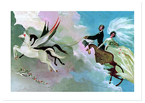 Wedding Couple in Flying Chariot Wedding Greeting Card