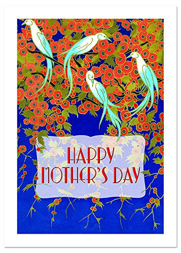 Art Deco Birds and Flowers Mother's Day Greeting Card