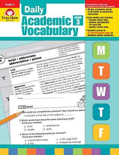 9781596732025: Evan-Moor Daily Academic Vocabulary Lessons for Grade 3 36 Weeks of Instruction Give Students an Expanded Vocabulary