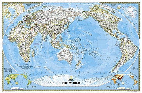 9781597751346: National Geographic: World Classic, Pacific Centered Enlarged Wall Map - Laminated (73 x 48 inches) (National Geographic Reference Map)