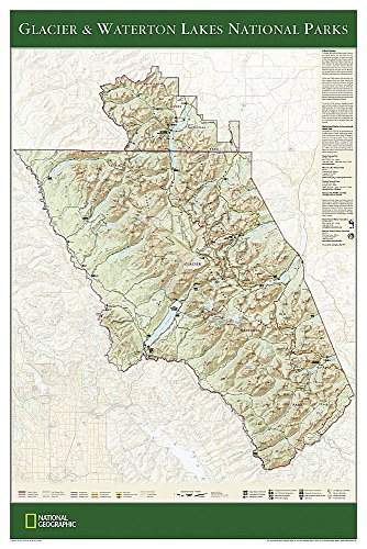 9781597751438: National Geographic: Glacier and Waterton Lakes National Parks Wall Map (24 x 36 inches) (National Geographic Reference Map)