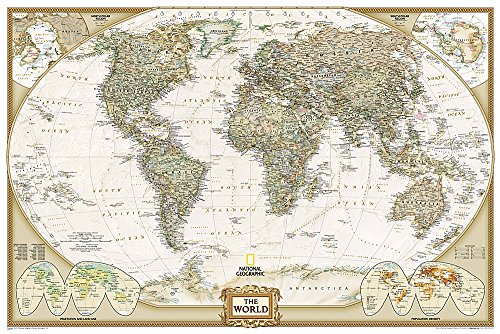 9781597752091: World Executive, Poster Size, laminated Wall Maps World (National Geographic Reference Map)