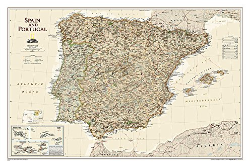 9781597752947: National Geographic: Spain and Portugal Executive Wall Map - Laminated (33 x 22 inches) (National Geographic Reference Map)