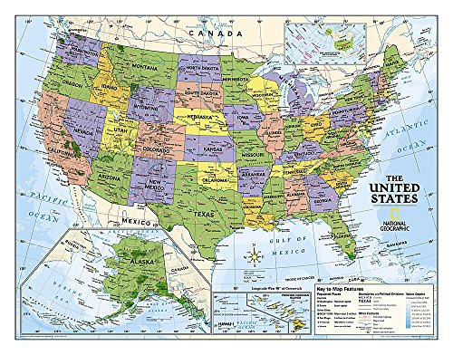 9781597753890: National Geographic: Kids Political USA Education: Grades 4-12 Wall Map - Laminated (51 x 40 inches) (National Geographic Reference Map)
