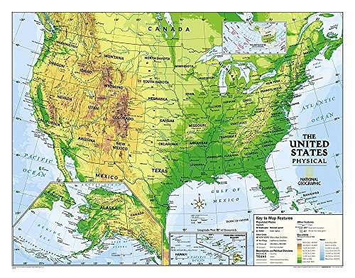 National Geographic Physical USA Map Grades 6-12: National Geographic Maps - Reference