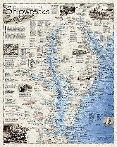 Shipwrecks of the Delmarva, tubed : Wall Maps History & Nature (National Geographic Reference ...