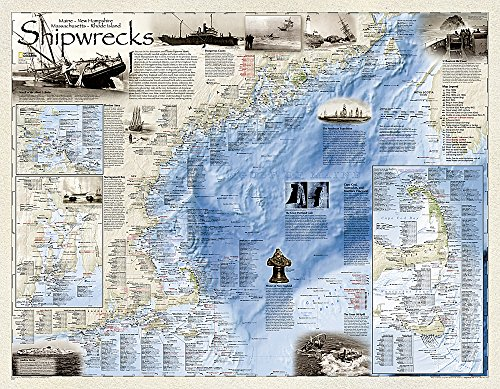 9781597754323: National Geographic: Shipwrecks of the Northeast Wall Map - Laminated (36 x 28 inches) (National Geographic Reference Map)