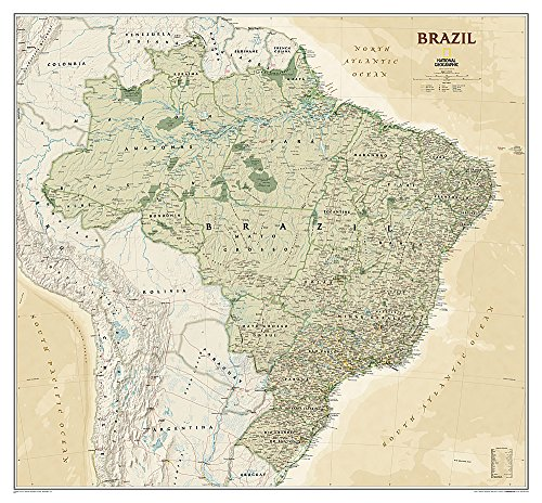 9781597754347: National Geographic: Brazil Executive Wall Map (41 x 38 inches) (National Geographic Reference Map)