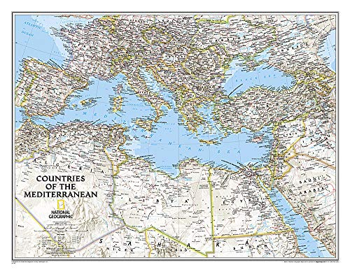 9781597755849: National Geographic: Countries of the Mediterranean Classic Wall Map (30.25 x 23.5 inches) (National Geographic Reference Map)