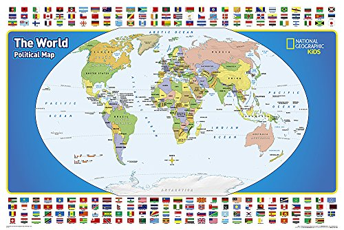 9781597755955: National Geographic: The World for Kids in gift box Wall Map (36 x 24 inches) (National Geographic Reference Map)