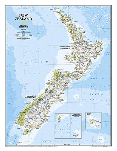 9781597756341: National Geographic: New Zealand Classic Wall Map - Laminated (23.5 x 30.25 inches) (National Geographic Reference Map)