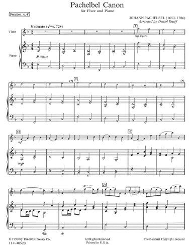 Pachelbel Canon for Flute and Piano: Arr. Daniel Dorff