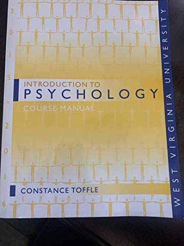 9781598304145: introduction to psychology course manual (west virginia university)