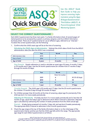 "ASQ-3â""¢ Quick Start Guide (9781598570052) by Jane Squires Ph.D.; Diane Bricker Ph.D."