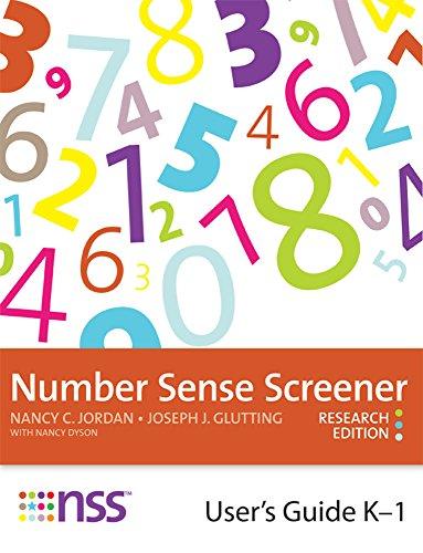 9781598572025: Number Sense Screener (NSS) User's Guide, K–1, Research Edition