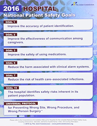 9781599409009: National Patient Safety Goals for Hospitals 2016 (Laminated Posters) (Pack of 10)