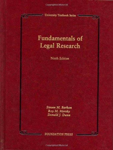 9781599412184: Fundamentals of Legal Research (University Textbook Series) (University Casebook Series)