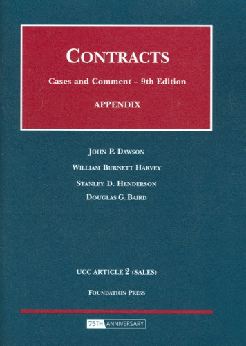 9781599413198: Appendix to Contracts, Cases and Comment (Selected Statutes)