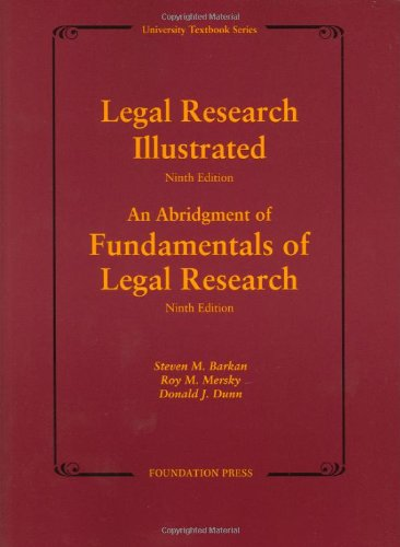 9781599413358: Legal Research Illustrated 9th Edition (University Textbook Series)