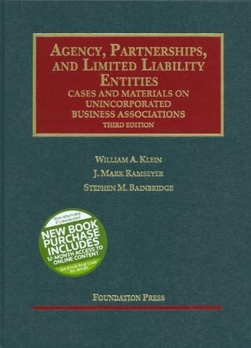 9781599414973: Agency, Partnerships, and Limited Liability Entities: Unincorporated Business Associations, 3d (Interactive) (Interactive Casebook Series)