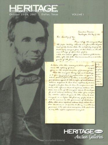 9781599671857: Heritage Rare Books & Manuscripts Auction Catalog Volume 1